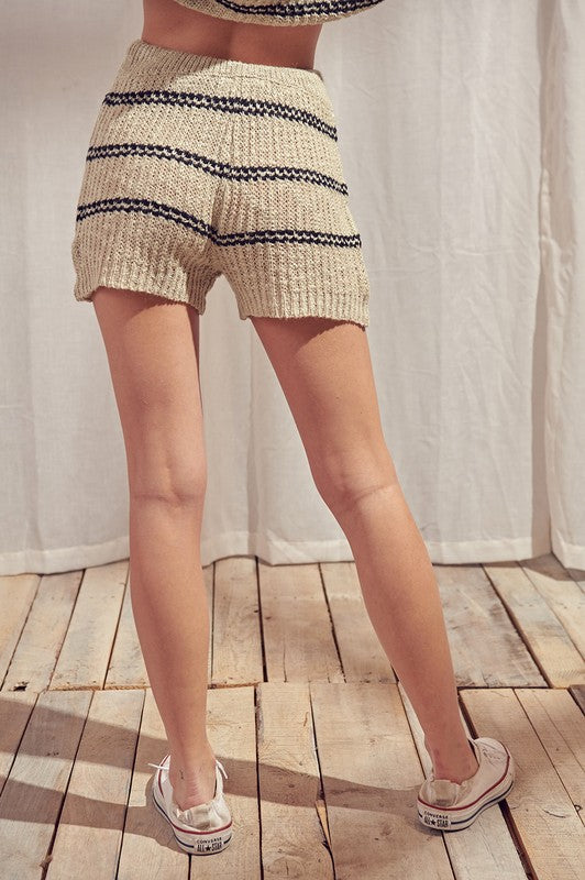 Striped Knit High Waisted Shorts (Taupe)