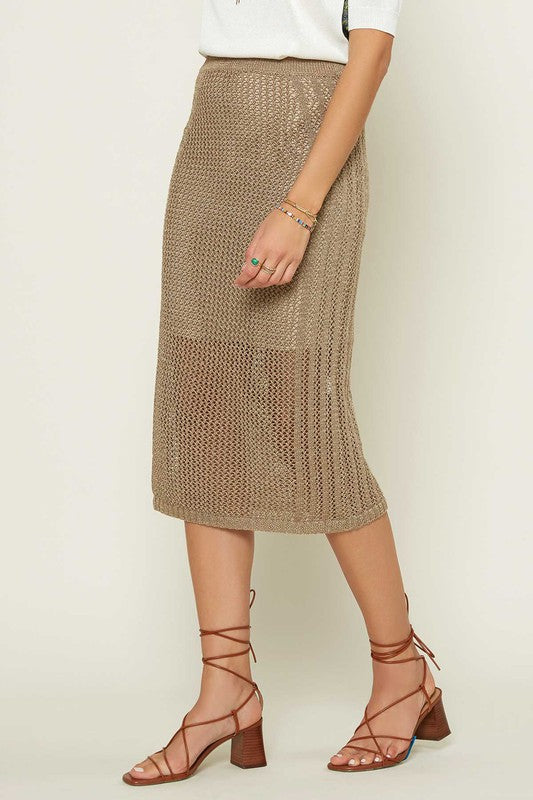 Fishnet Midi Skirt (Sandalwood)