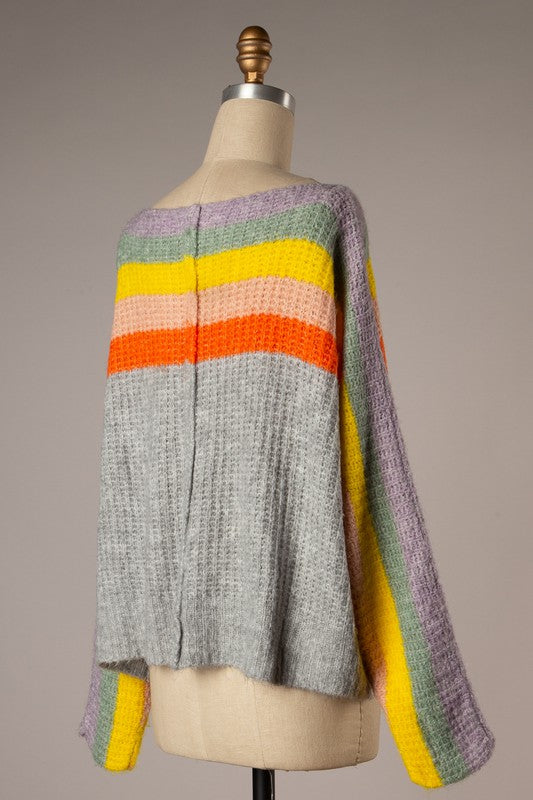 Boat Neck Cable Knit Sweater (Grey)