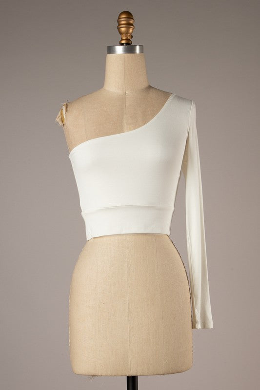 One Shoulder Crop Top (Ivory)
