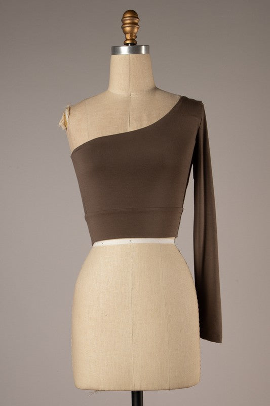 One Shoulder Crop Top (Walnut)