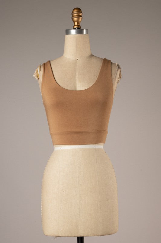 Twist Back Detail Crop Top (Camel)