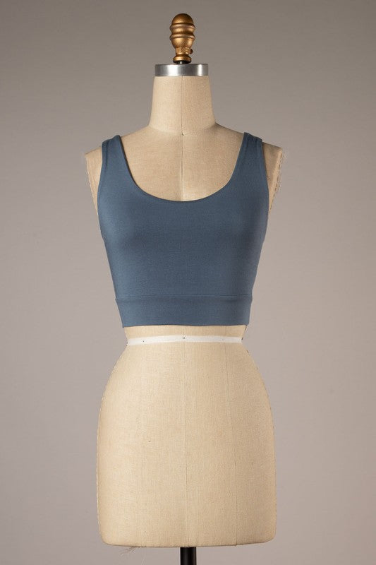 Twist Back Detail Crop Top (Slate)
