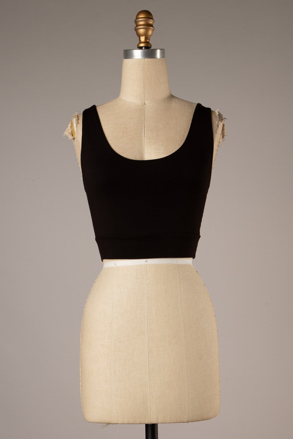 Twist Back Detail Crop Top (Black)