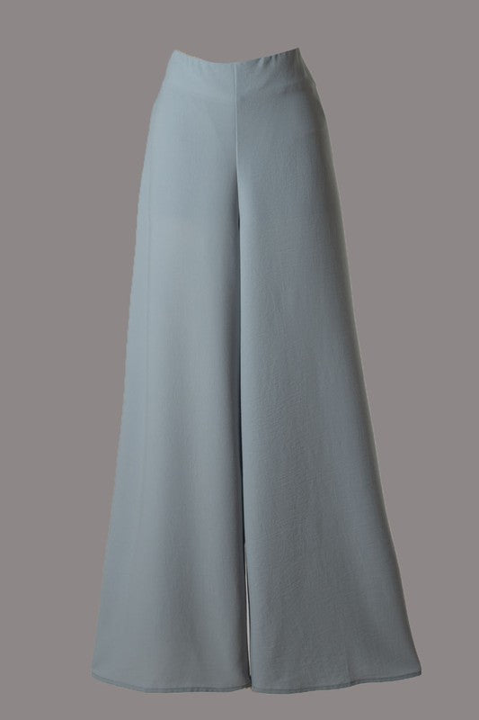 High Rise Wide Leg Pant (Blue Grey)