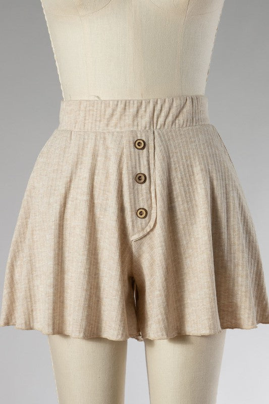 Button Accent Ribbed Shorts (Oatmeal)