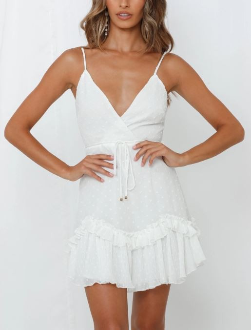 Brittany Ruffled Dress (White)