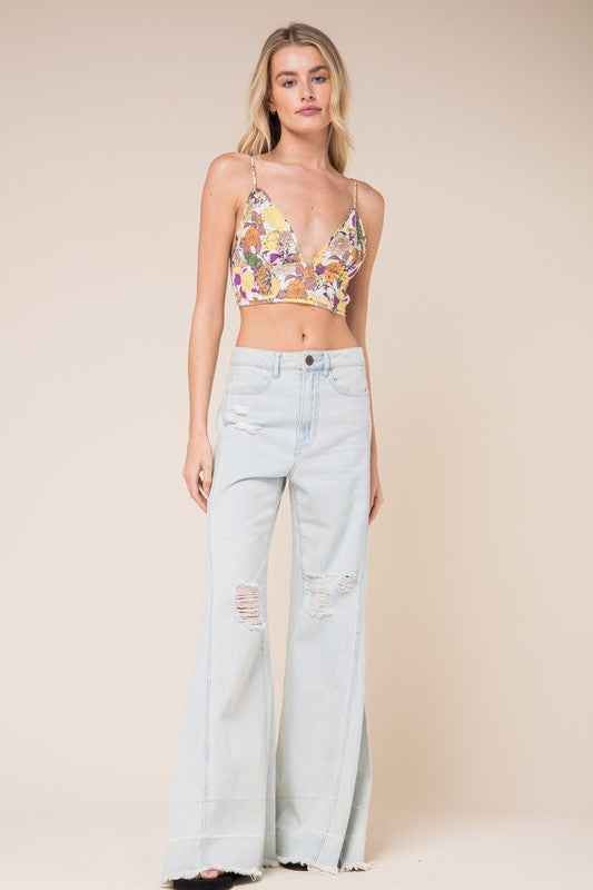 Long Lines Floral Crop Top (Yellow)