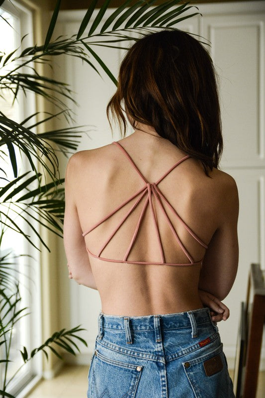 Monica Triangle Back Bralette (Rose)