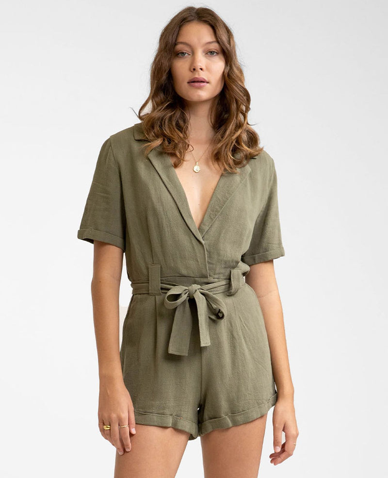 Catalina Short Sleeve Romper (Khaki)