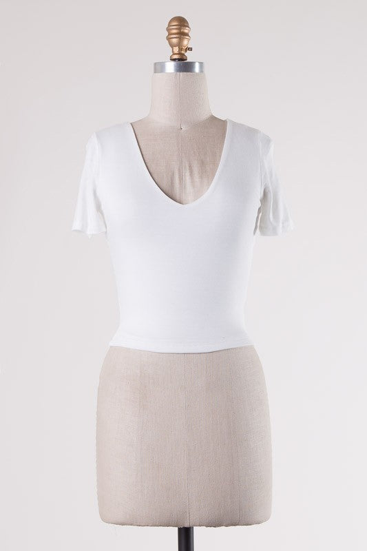 Short Sleeve V Cut Crop Top (Ivory)