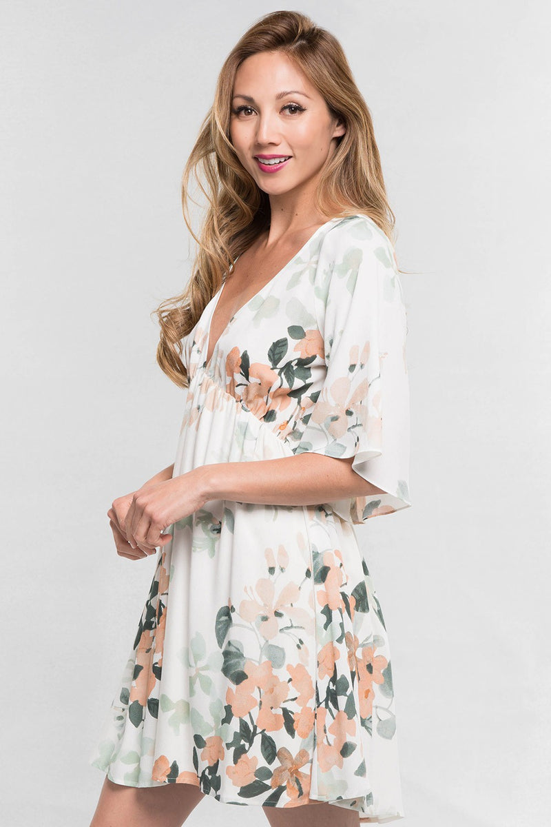 Watercolor Floral Babydoll Dress (Nude/Mint)