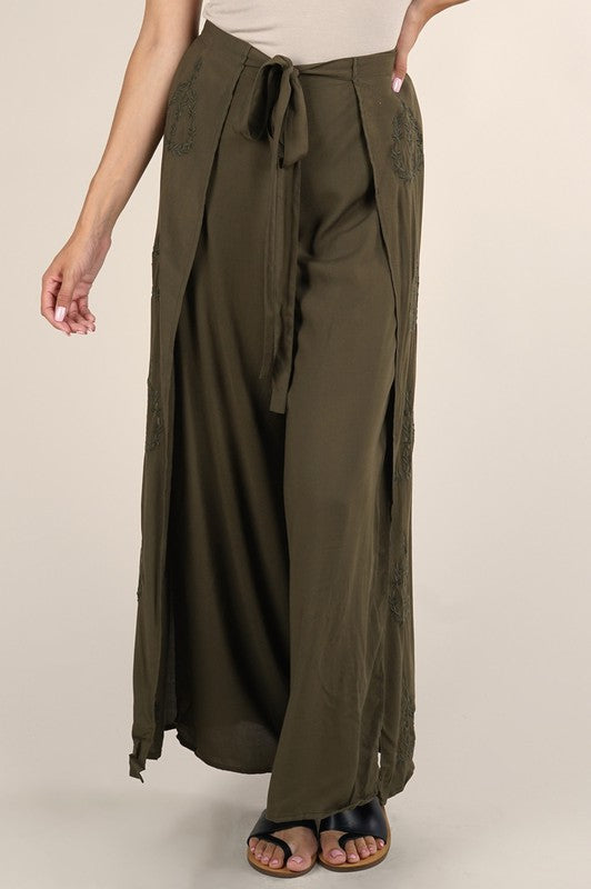 Embroidered Wrap Front Pant (Olive)