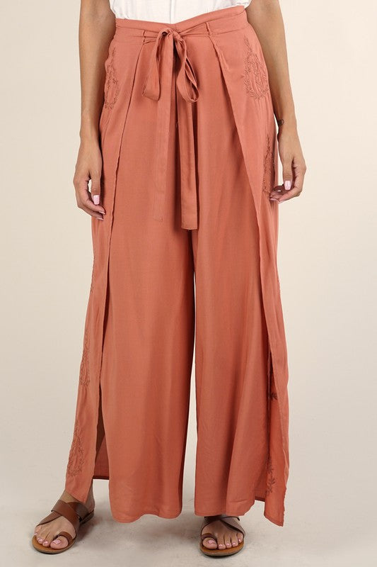 Embroidered Wrap Front Pant (Terracotta)
