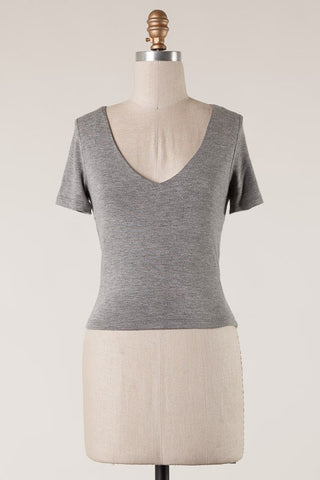 Short Sleeve V Cut Crop Top (Heather Grey)