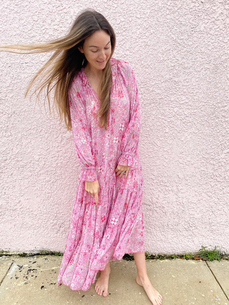 Feeling Groovy Maxi Dress (Summertime Pink)