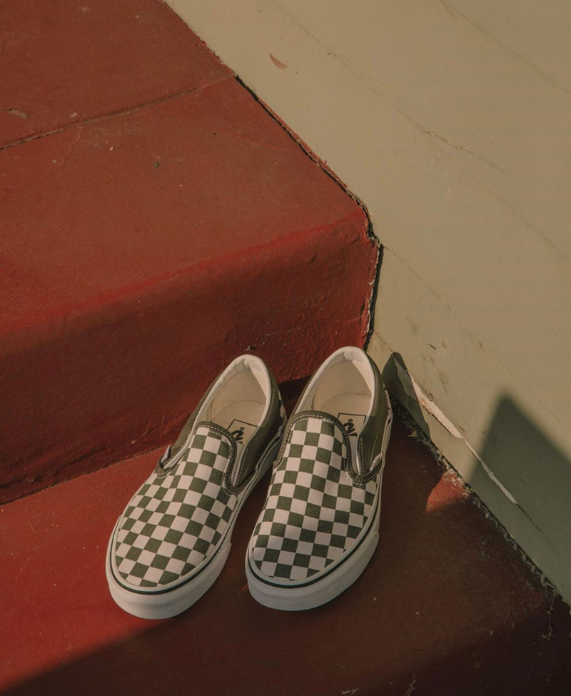 Checkerboard Classic Slip-On (Grape Leaf/True White)