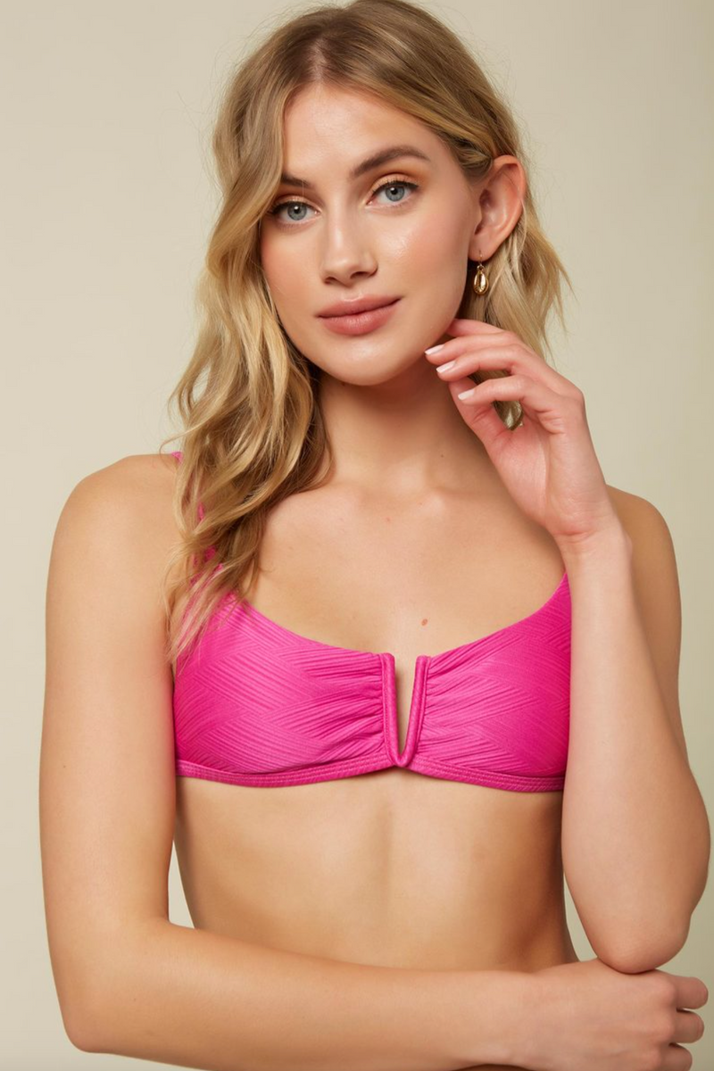 SALTWATER SOLIDS TEXTURED V WIRE BRALETTE TOP (NEP)