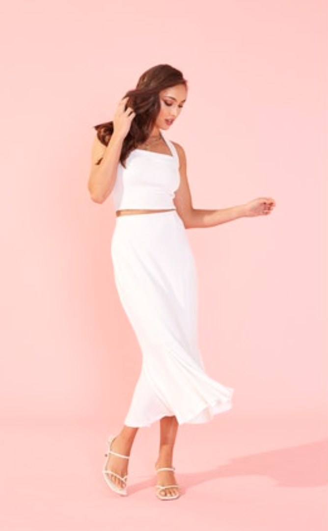 Godet Midi Skirt (White) ONLINE EXCLUSIVE