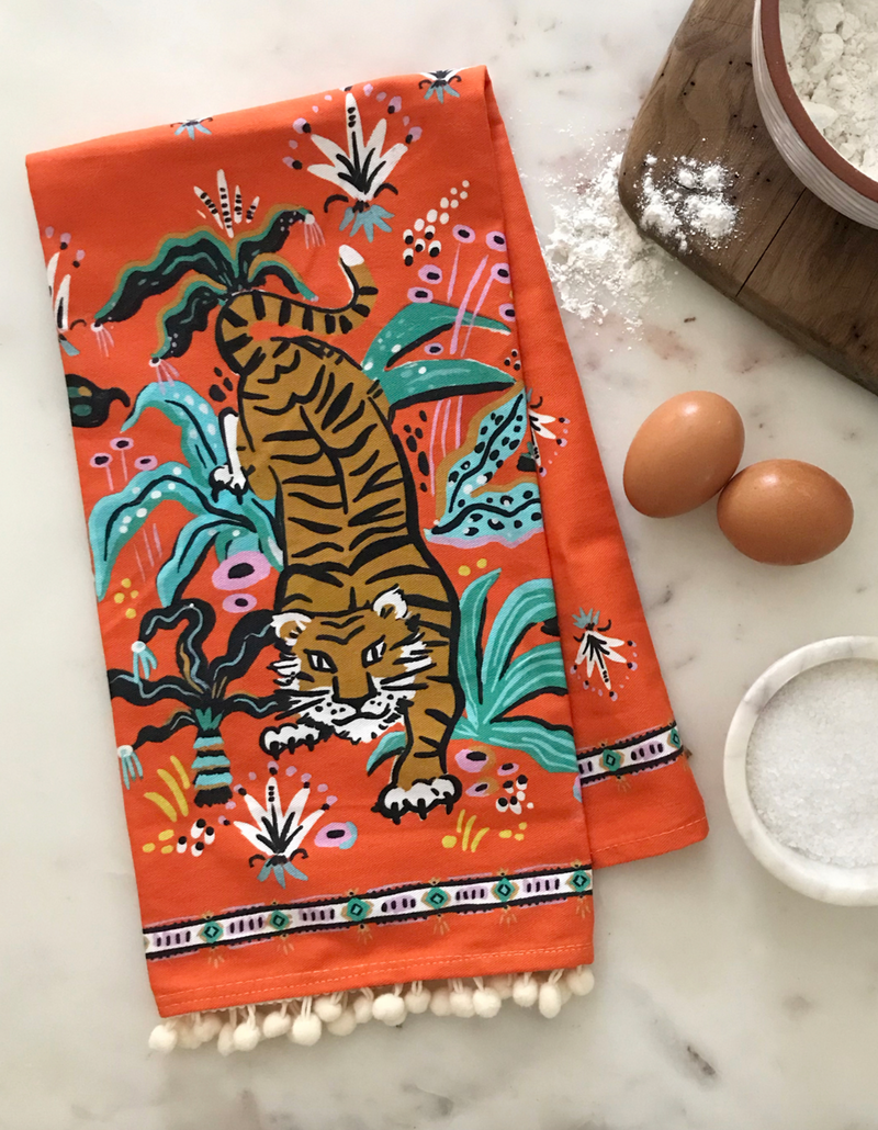 Pouncing Tiger Tea Towel