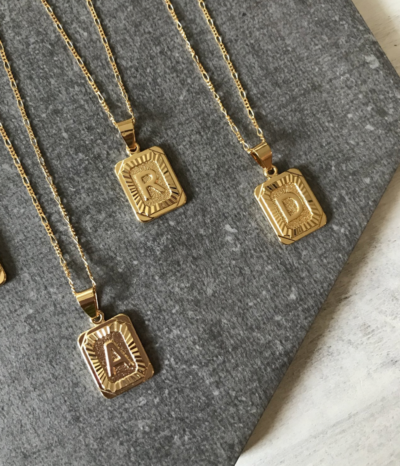 Initial Card Necklace (Gold) 14k Gold Plated PREORDER