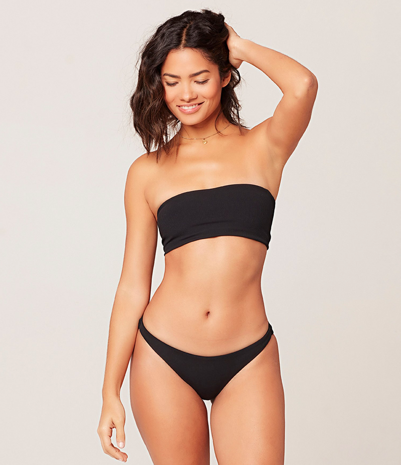 Ribbed Beach Wave Bikini Top (BLK)