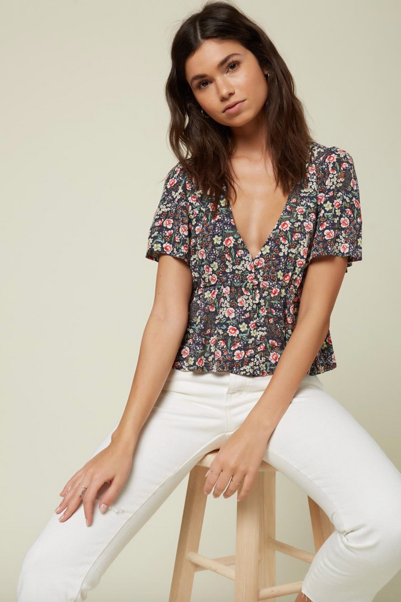 Wes Floral Top (NVY)