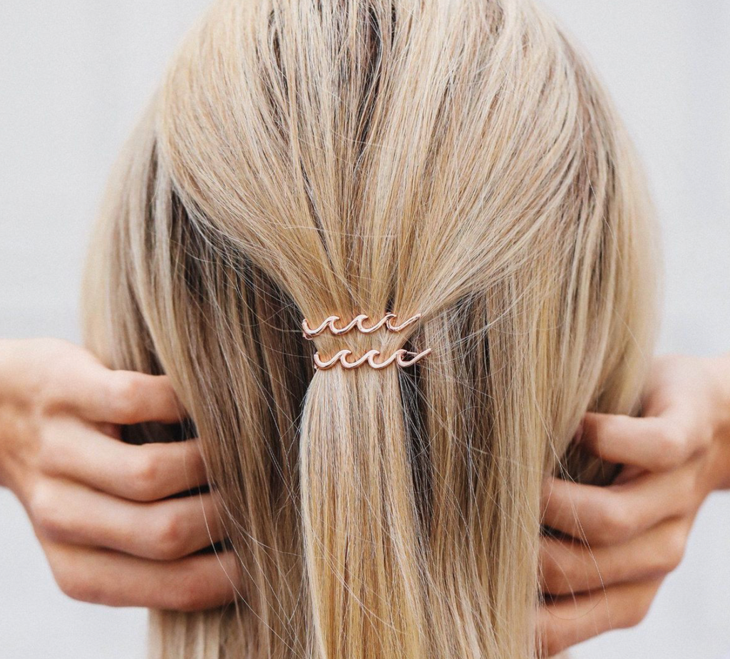 Wave Hair Barrette 2 Pack (Rose Gold)