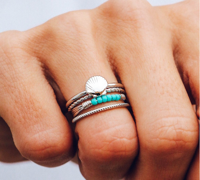 Shell Ring Stack (Silver)