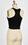 Thick Strap VNeck Crop (Black)