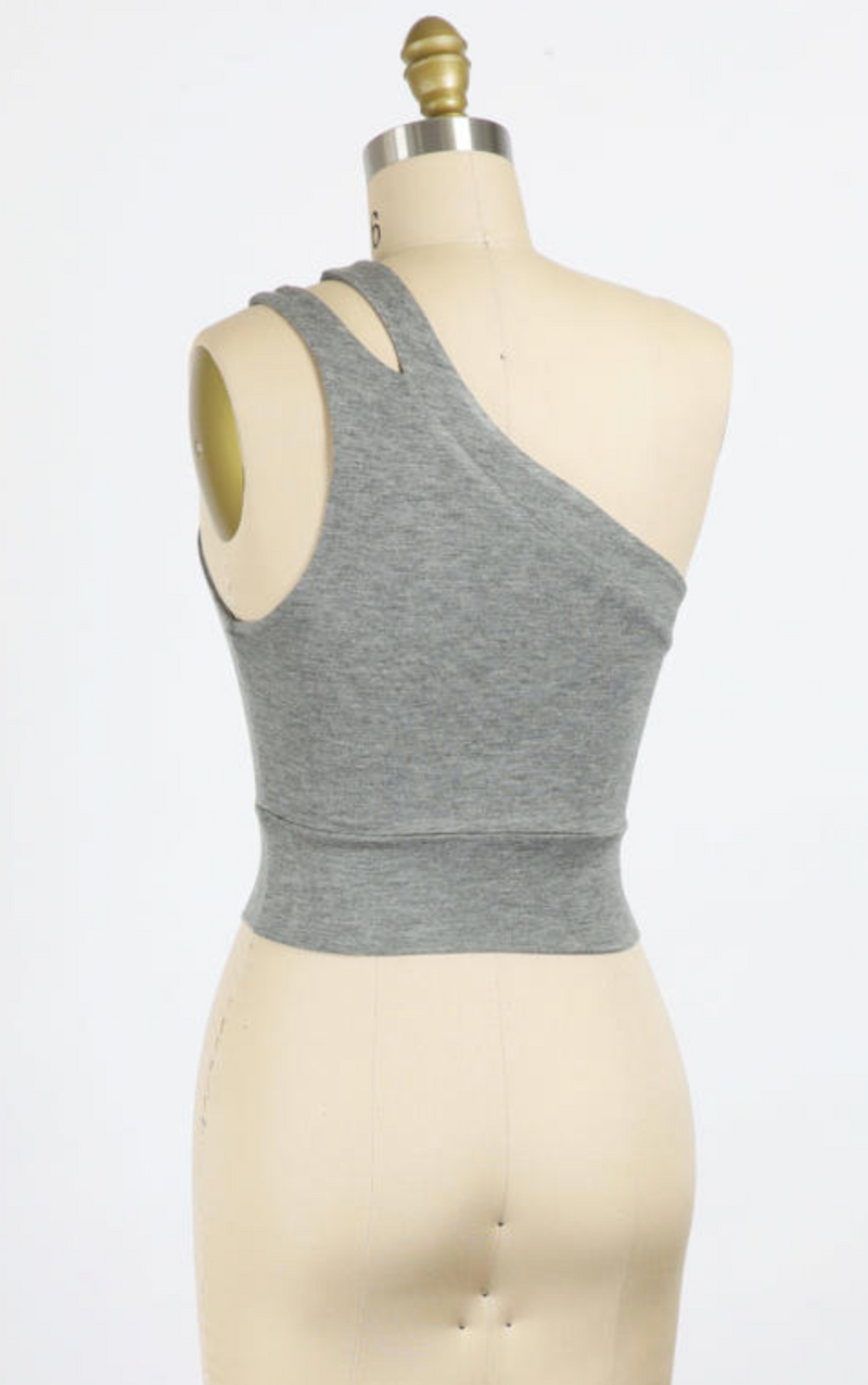 Cropped One Shoulder Top (Grey)