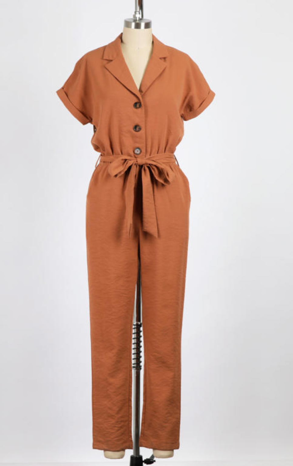 Collared Button Front Jumpsuit (Terra Cotta)