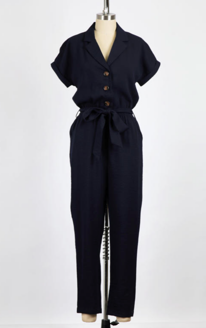 Collared Button Front Jumpsuit (Navy)