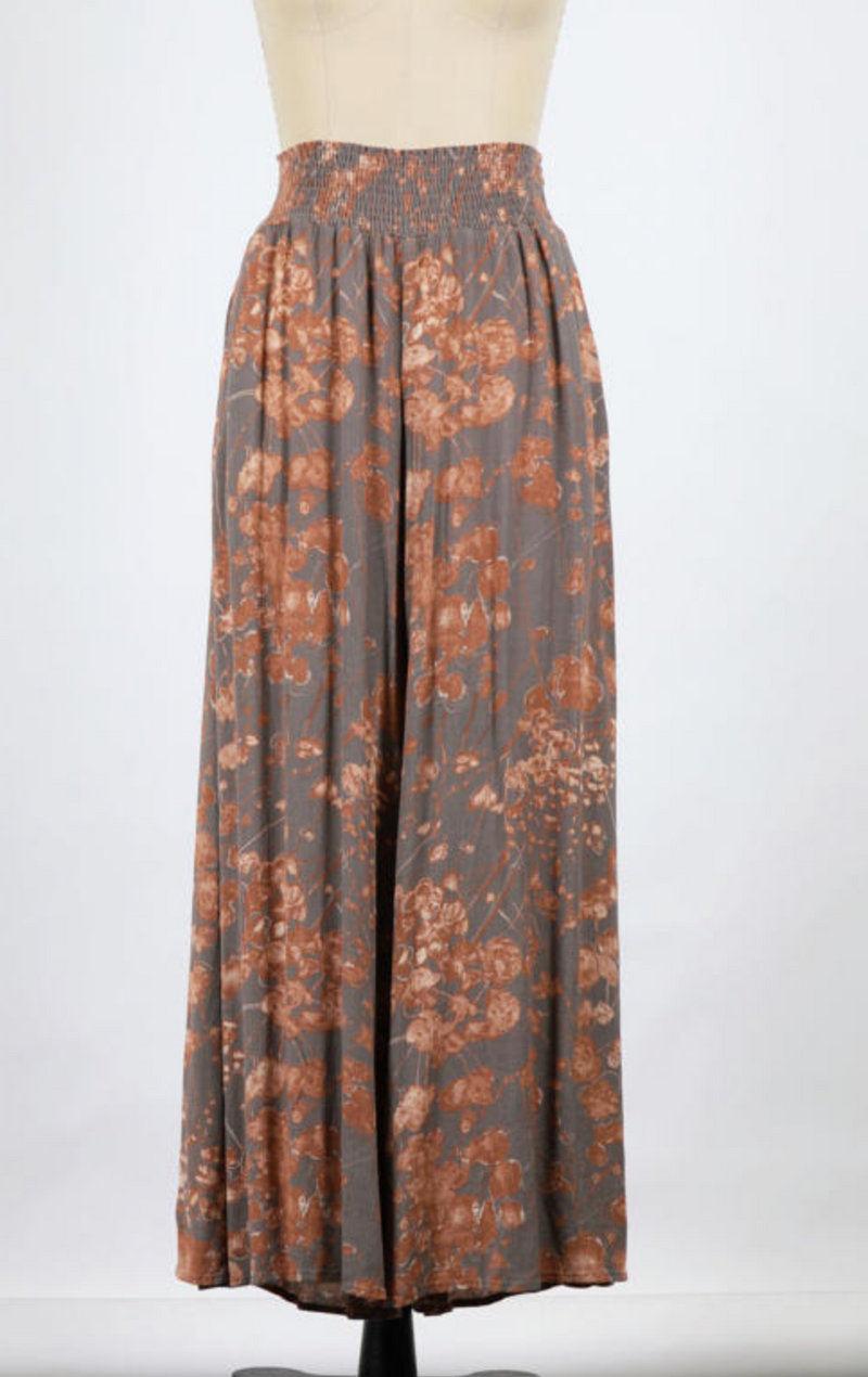 Washed Floral Print Gauze Wide Leg (Grey)