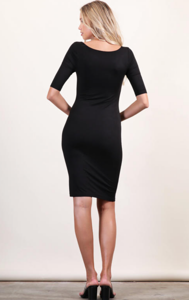 Square Neck Bodycon Dress (Black)