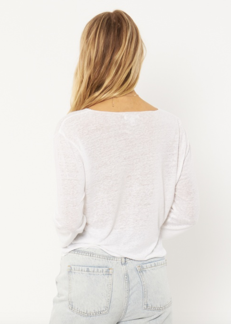Pierce Long Sleeve Knit Tee (WHT)