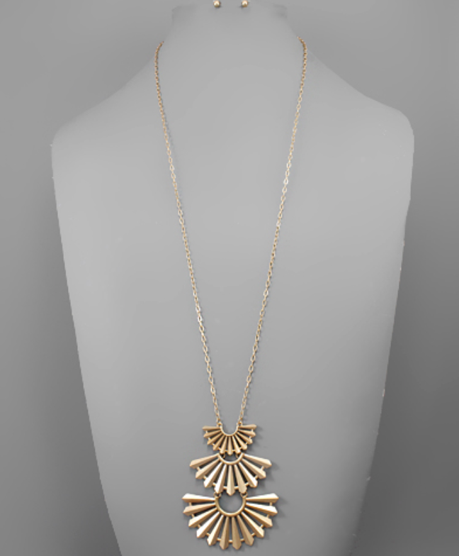 Three Fan Long Necklace