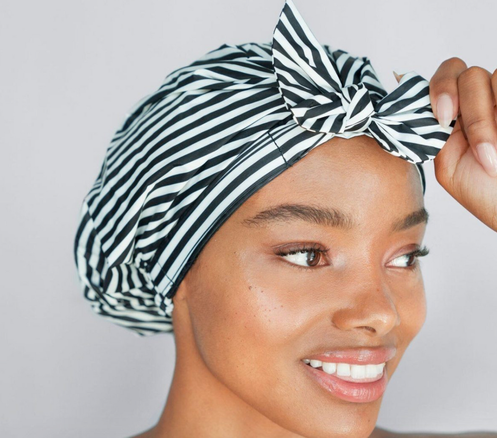 Luxe Shower Cap (Black & White Stripe) PREORDER