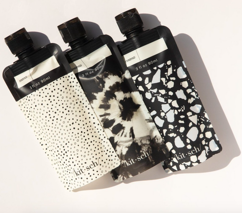 Refillable Travel Pouch 3pc set (Black & Ivory)