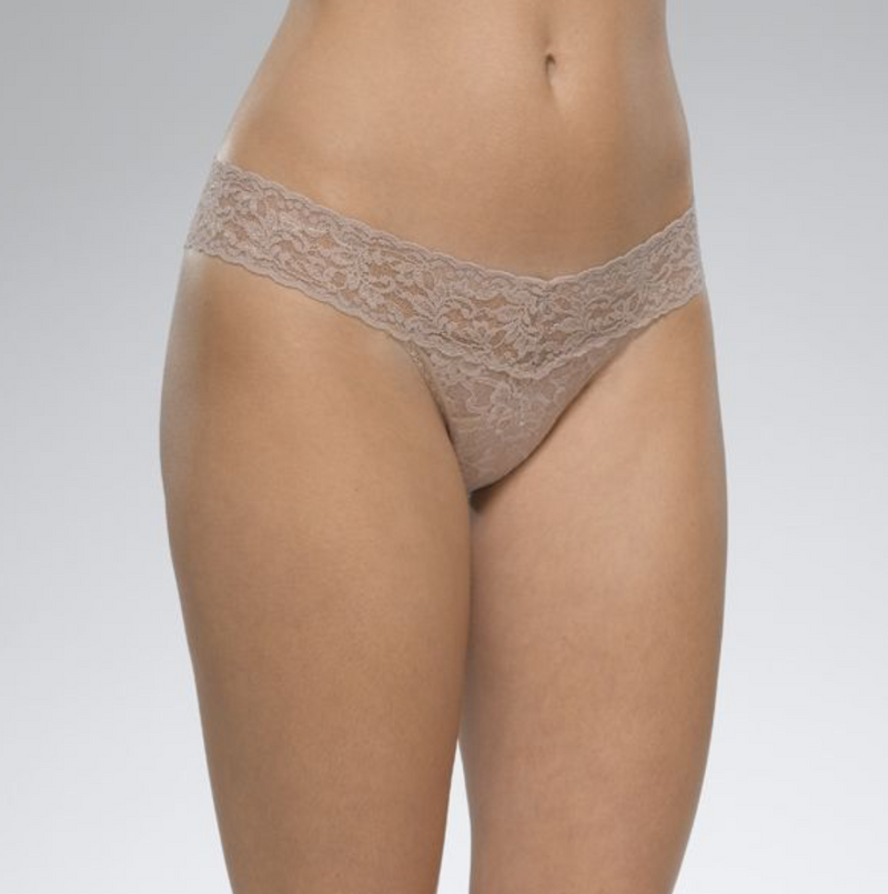 Rolled Signature Lace Low Rise Thong (Taupe)