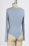 Long Sleeve Basic V Neck Bodysuit (Blue)