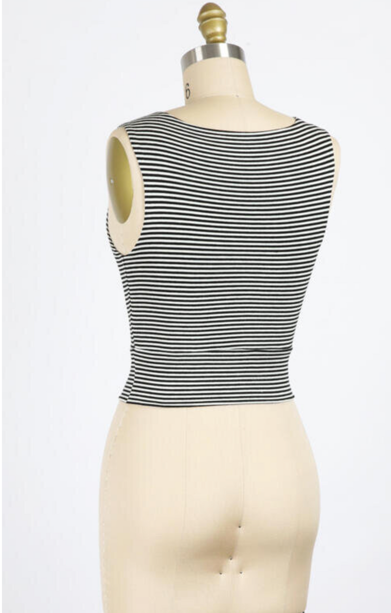 Striped Cropped Round Neck Tank (Black/Ivory)