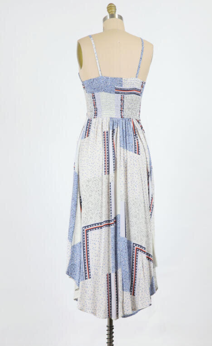 Valerie Tunnel Tie Midi Printed (Denim)