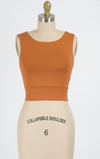 Solid Cropped Round Neck Tank (Rust)