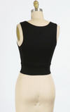 Solid Cropped Round Neck Tank (Black)