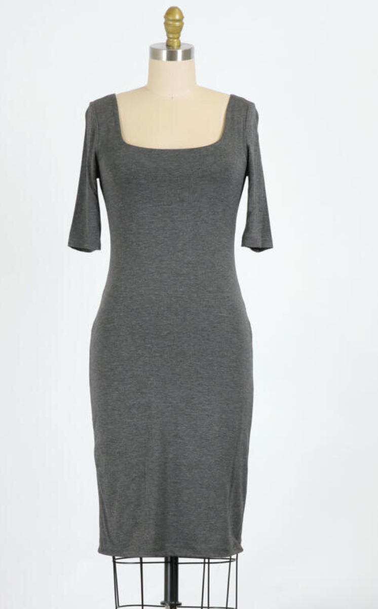 Square Neck Bodycon Dress (Charcoal)