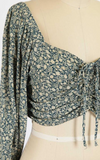 Ditsy Floral Ruched Long Sleeve (Navy)