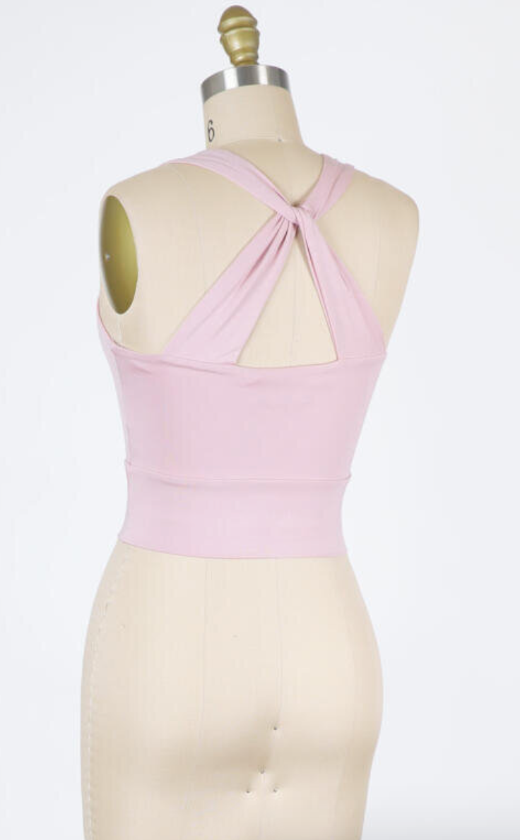 Cropped Tank Twist Back Detail (Pale Mauve)