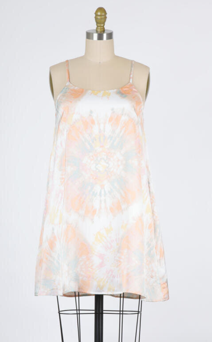 Satin Tie Dye Cami Dress (Peach Combo)