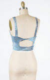 Twist Back Detail Crop Top (Blue Combo)